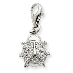 Sterling Silver CZ Lady Bug Charm Real Goldia Designer Perfect Jewelry Gift goldia. $17.37