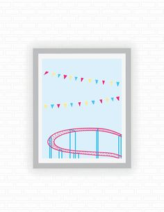 Roller coaster illustration  carnival ride  by ColorFiles on Etsy