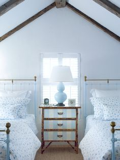 I may need to paint the bottom portion of our metal headboard.  Design Chic: Things We Love: Twin Beds All Grown Up