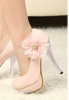 LOVELY WOMENS FLOWER SHOES RHINESTONE HIGH HEELS PINK MS008