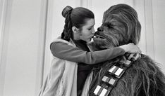 22 Words | Princess Leia goofing off and getting frisky with Chewbacca behind the scenes [6 pictures]