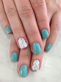 Green-with-white | Awesome Spring Nails Design for Short Nails | Easy Summer Nail Art Ideas Switch out the checked pattern for a sale print and you would have some stunning mermaid mails. #springnailart