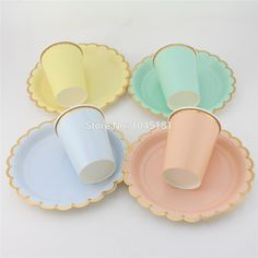 32set Gold Foil Disposable Party Paper Tableware Pastel Pink Mint Blue Yellow Solid Plates Cups Birthday Wedding Table Supplies купить на AliExpress