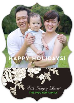 Chocolate and Green Festive Floral Christmas Photo Card
