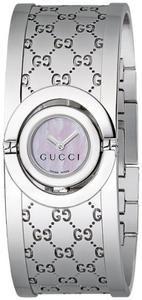 788775f0793 Gucci Women s YA112510 Twirl Small Steel Bangle White Dial Watch