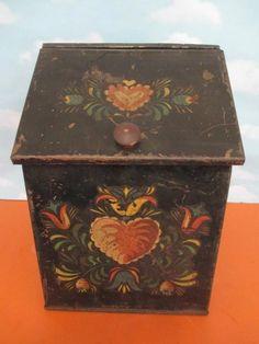Vintage Primitive Tole Painted Metal Flour Tin Heart Floral Design | eBay