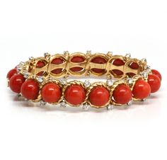 A Coral, Diamond and 18k Gold Bracelet, by Tiffany & Co.. Via FD Gallery, www.fd-inspired.com