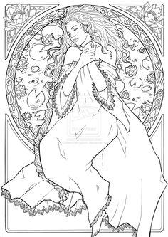 Kleurplaat: Jugendstil Ladies *Colouring Pictures Art Nouveau