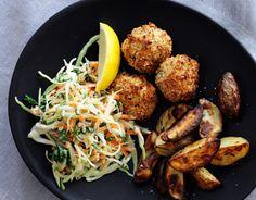Billede af Tundeller med coleslaw og rosmarinstegte kartofler