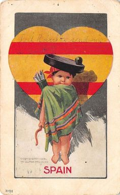 Charles Twelvetrees~National Cupid Series~Spain~Quiver~Heart Flag~1907 | Collectibles, Postcards, Artist Signed | eBay!