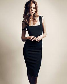 Flattering little black dress on Frida Gustavsson