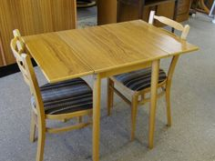 Sale Now On!! Drop Leaf Kitchen Table With 2 Chairs For Reupholstery, Was £25, Now £20 ---------- Measurements H74cm, W61cm extending to 91cm, D51 (PC260)