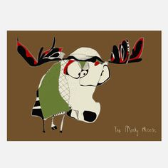 The Moody Moose Print 24x18, $30, now featured on Fab.