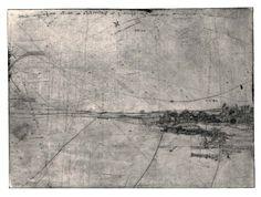 Frans PannekoekPaysage d'hiver en Suède ou La Licorne. Comment elle saute, 1963.  Pointe sèche.— 174 x 236 mm