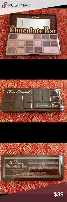 Too Faced Chocolate Bar Eye Shadow Set NWOT This is a new Too Faced chocolate bar eyeshadow collection made with 100% natural cocoa powder. Never used. In mint condition. No returns on make up items for health reasons please! Too Faced Makeup Eyeshadow