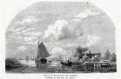 Antique woodcut print:boats Haarlem North Holland 1865 het Spaarne houtgravure