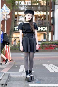 awesome Monochrome Harajuku Street Style w/ Pameo Pose Platform Creepers, Corset & Lace Choker Japanese Street Fashion, Tokyo Fashion, Harajuku Fashion, Korean Fashion, Fashion 2020, India Fashion, Kawaii Fashion, Unique Fashion, Trendy Fashion