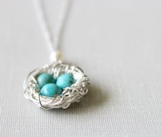 Quality is priceless.  Mother's Day Bird Nest Necklace in Sterling Silver by brookeelissa, $34.00