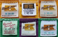 1960s-1970s RUSSELL Tshirt Labels Vintage Tags, Vintage Labels, T Shirt Label, Vintage Outfits, Vintage Fashion, Clothing Logo, Apparel Design, Wall Collage, Logo Branding
