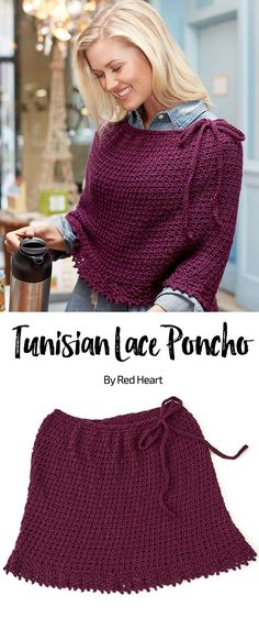 Tunisian Lace Poncho free crochet pattern in Soft yarn.