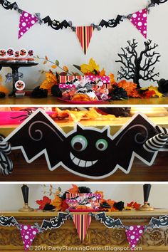 Halloween Printables: 10 Free Cards, Luminaries, Boxes And Labels--cute bat and flag garland