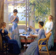 Painting of Mrs Wilson and her three daughters having tea by Richard William Vonnah in 1913. Ellen Wilson, wife of Woodrow Wilson 28th president of the United States of America, set a precedent for First Ladies to use their influence in causes of humanitarian need. Classic Paintings, Paintings I Love, Old Lyme, Tea Art, Vintage Tea, American Artists, Afternoon Tea, Art History, Tea Time