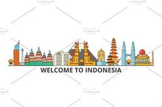 Indonesia outline skyline, indonesian flat thin line icons, landmarks, illustrations. Urban silhouette by urban icon on Line Art Lesson, Chalkboard Art Quotes, Cities, Building Illustration, Illustration Art, Kindergarten Art Projects, Indonesian Art, City Vector, Travel Icon