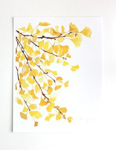 Yellow Ginkgo Watercolor Art Print by YaoChengDesign on Etsy