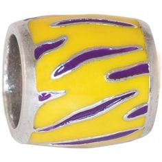 "Teagan Collegiate Collection Bead: Louisiana State Purple Tiger on Gold Bead LSU4.  925 Silver & Enamel.  This is a ""Teagan"" bead and it is compatible with Pandora, Biagi, Zable, Brighton, Troll and many other European style bracelets"