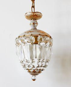 Antique Crystal Dome Chandelier 24k Gilt Gold Etching