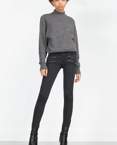 Image 2 of BIKER TROUSERS WITH ZIPS from Zara