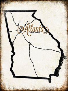 Atlanta+Georgia++//+Metal+Sign+//+12+x+16+by+FreedSoulsDesign,+$39.00