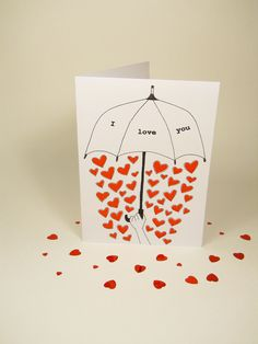 Valentines Day card - Love umbrella card - i love you - hand drawn - black and red - blank.