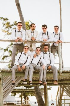 Groom wedding attire - Vintage Bohemian Beach Wedding at Jellyfish Punta Cana – Groom wedding attire Groomsmen Attire Suspenders, Groom And Groomsmen, Groomsmen Beach Attire, Groomsmen With Suspenders, Grooms Men Attire, Vintage Groomsmen Attire, Groom Suit Vintage, Groomsmen Shoes, Mens Attire