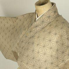 Brawn summer komon kimono / シボ感のある化繊地に麻の葉柄の夏小紋