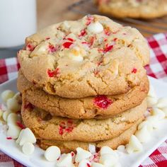 Peppermint White Chocolate Chip Cookies - Perfect for the holidays!!