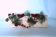 Items similar to White Michigan Birch Log Candle Holder - Beautifully Hand Decorated - Includes Two Glass Candles on Etsy Christmas Log, Christmas Wreaths, Christmas Crafts, Christmas Displays, Christmas Decorations, Holiday Decorating, Decorating Ideas, Decor Ideas, Log Candle Holders