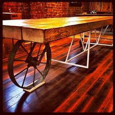 Just finished a industrial boardroom table on wheels . The large vintage wheel rotates and steers. Cool hey!! #melbourne #melbournestyle #melbournedesign #melbourneshopping #interiordesign #industrialtable #industrialfurniture #retro #retrofurniture #vintagefurniture #vintage