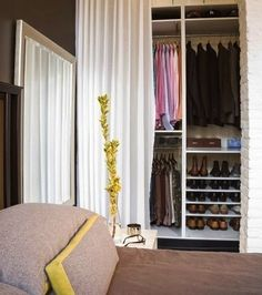 Organization Inspiration: 10 Neat and Beautiful Closets Closet Curtains, Closet Bedroom, Closet Space, Closet Doors, Tall Curtains, Ceiling Curtains, Curtain Wardrobe, Mirror Bedroom, Bathroom Closet