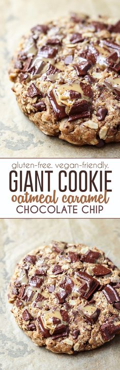 An oatmeal caramel chocolate chip GIANT cookie! Using rolled oats, gluten-free flour, flaxseed, some nut butter, coconut sugar and coconut oil to satisfy your (healthier) sweet-tooth
