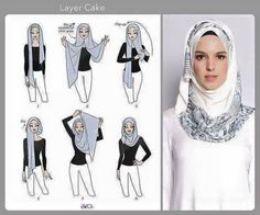 Layer Cake hijab tutorial by duckscarves. ♥ Muslimah fashion & hijab style Layer Cake hijab tutorial by duckscarves. Hijab Simple, Simple Hijab Tutorial, Hijab Style Tutorial, Scarf Tutorial, Hijab Chic, Stylish Hijab, Modern Hijab, Islamic Fashion, Muslim Fashion