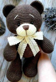 Crochet bear amigurumi - free crochet pattern for this adorable little bear. - HOBBY Crochet bear amigurumi – free crochet pattern for this adorable little bear. Crochet bear amigurumi – free crochet pattern for this adorable little bear. Crochet Crafts, Crochet Dolls, Crochet Projects, Crocheted Toys, Crochet Bear Patterns, Amigurumi Patterns, Crochet Animals, Crochet Teddy Bears, Amigurumi Tutorial