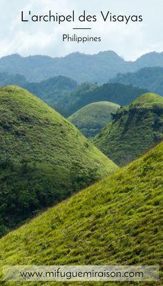 Voyage d'île en île dans l'archipel des Visayas, aux Philippines. Sur cette photo, les fameuses Chocolate Hills sur l'île de Bohol. #philippines #bohol #visayas #voyage #blog #travelblog