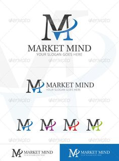 Market Mind Logo Template Features Ai, Eps CMYK Vektor Easy to edit color / text Three Letter Logos, Brochure Design, Logo Design, Thanksgiving Wallpaper, Technology Logo, Text Color, Logo Templates, Slogan, Mindfulness