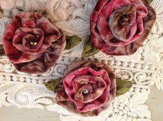 VELVET ROSE PINS 3 handmade vintage velvet