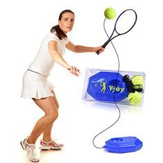 Discounted Vjoy Tennis Ball Trainer, Tennis Base with A Rope Self-Study Tennis Rebound Player with Trainer Baseboard + 2 Training Ball (Tennis Trainer) #TennisBasewithARopeSelf-StudyTennisReboundPlayerwithTrainerBaseboard+2TrainingBall(TennisTrainer) #VjoyTennisBallTrainer