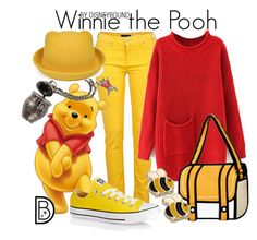 """""""Winnie the Pooh"""" by leslieakay ❤ liked on Polyvore featuring River Island, Converse, Disney, women's clothing, women's fashion, women, female, woman, misses and juniors"""