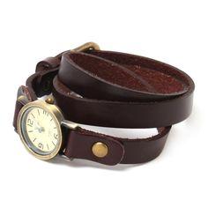 Yesurprise Montre Quartz Numéros Fashion Rond Montre Bronze case Long Bracelet de cuir 6119 Café: Amazon.fr: Montres