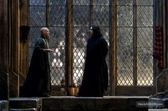 The boathouse isn't the only Snape-centric addition in the final film; Harry also confronts the sullen wizard in the Great Hall, a moment teased during the marketing campaign. Description from thehpn.net. I searched for this on bing.com/images