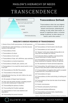 """Did you know Maslow proposed transcendence above self-actualization in his hierarchy of needs? See Maslow's various meanings of transcendence from his book """"The Farther Reaches of Human Nature. Spiritual Enlightenment, Spiritual Growth, Spiritual Awakening, Therapy Worksheets, Therapy Activities, Maslow's Hierarchy Of Needs, Self Actualization, Self Awareness, Self Improvement Tips"""